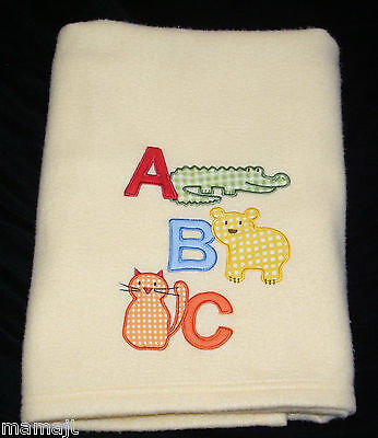 Small Wonders Yellow ABC Baby Blanket Alligator Bear Cat Animals EXCELLEN COND
