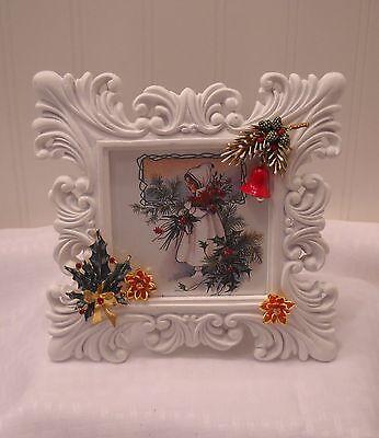"Framed Jewelry Postcard 1900  Repro-"" Precious Little Angel""  Flower Arrangement"