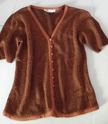 French Rags, Brenda French Hand Loomed Knit Button Cardigan V Neck, Medium
