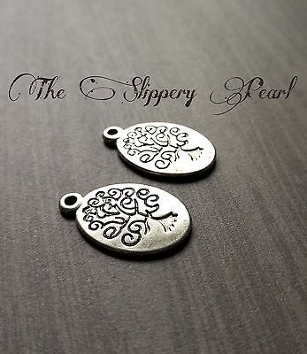 Tree of Life Charms Pendants Antiqued Silver Tree Charms 10pcs Double Sided
