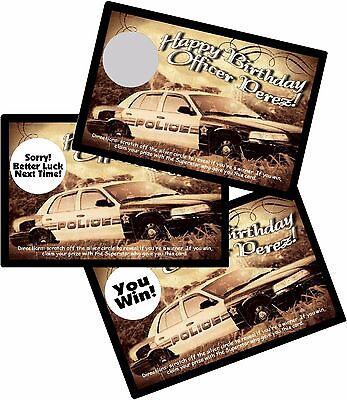 10 POLICE OFFICER/COP PERSONLIZED SCRATCH OFFS PARTY GAMES CARDS BIRTHDAY FAVORS](Office Party Games)