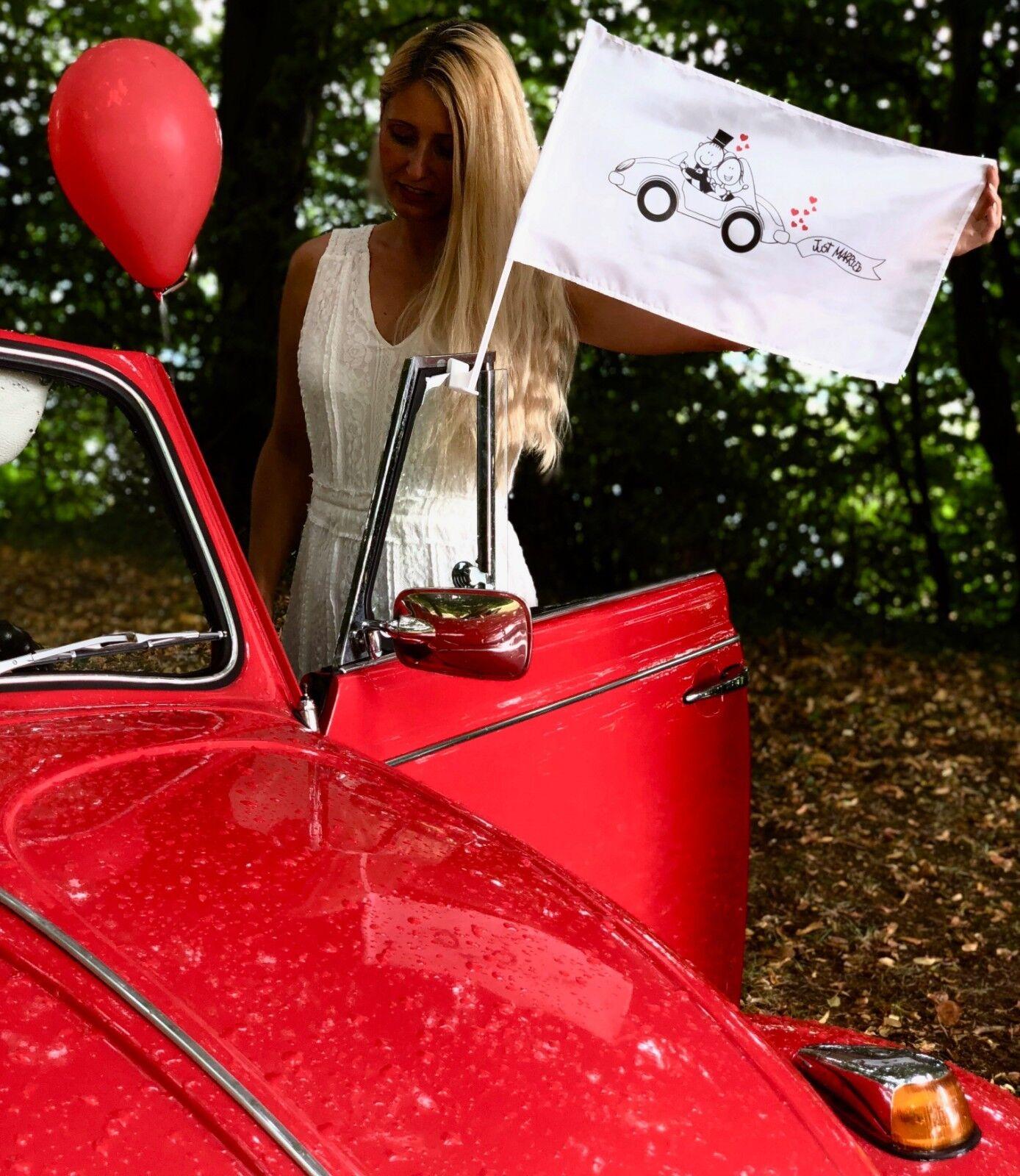 2x,10x, 20x Autoflagge, Autofahne Hochzeit Fahne Autocorso Accessoires Zubehör