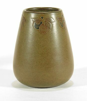 Marblehead Pottery fruit decorated matte brown green vase HT arts & crafts