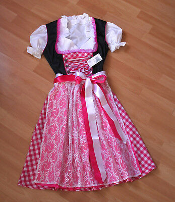 Doppel-schürze (NEU süßes Dirndl,3 tlg.Set,Kleid,Bluse,doppel Schürze,schwarz pink,Gr.38,42,44)