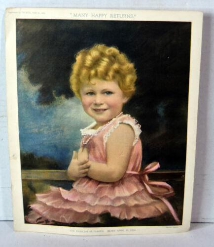 1929 Antique Print HRH Royal Highness Princess Elizabeth Queen Elizabeth II