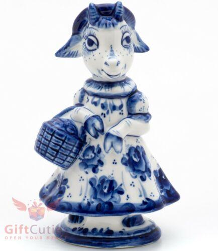 Gzhel porcelain figurine of Goat farmer with a basket Гжель