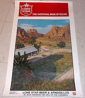 1980 LONE STAR BEER & ARMADILLOS Poster - OL' BLUE ANSWERS CALL OF THE LONGNECKS