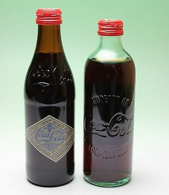 Pair of 125th Anniversary Coca Cola Hutchinson Straight Sided Bottles Coke Japan