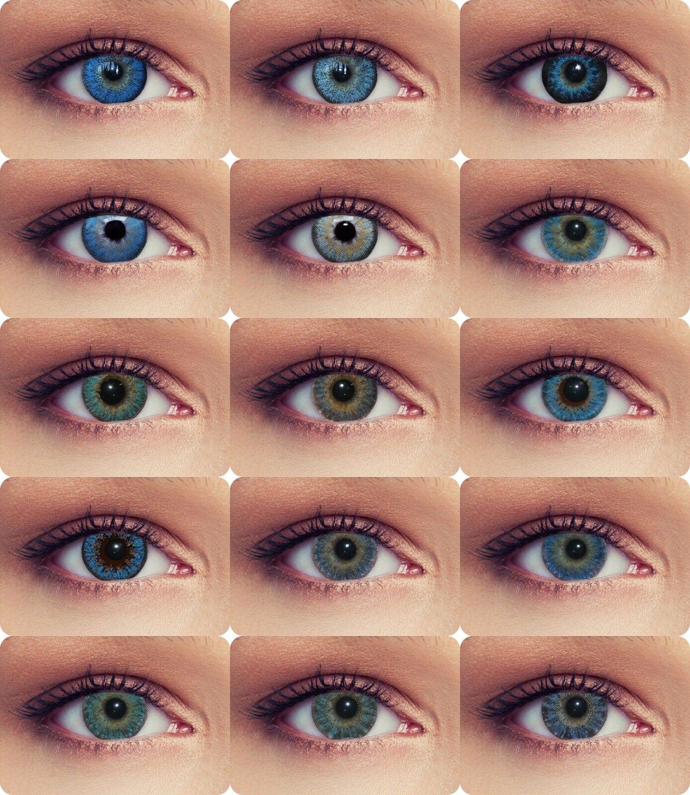 Blaue farbige Kontaktlinsen mit oder ohne Stärke natürlich wirkende Linsen blau