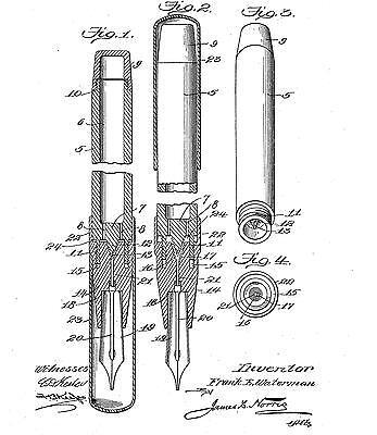 Antique/old Waterman fountain pen, penholder, desk stand: Historical infos 1884-