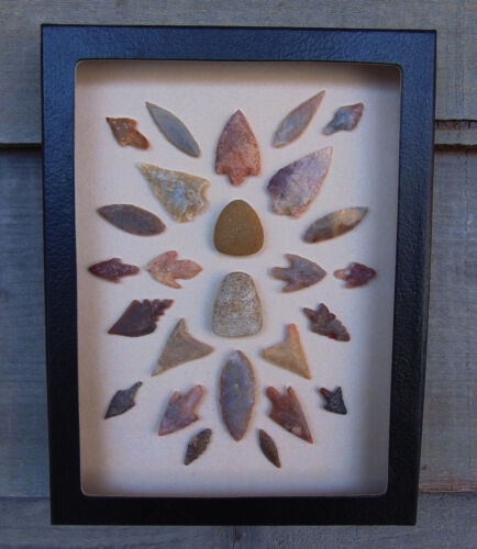 N8) 6X8 Framed Neolithic Artifacts display arrowheads celts points arrow head
