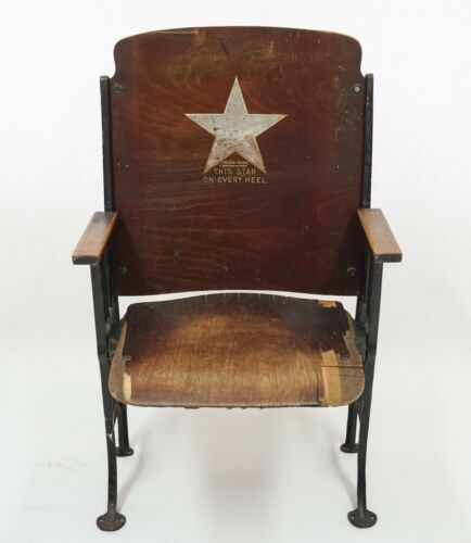 Star Brand Shoes Antique Theater Seat Chair Advertising Roberts Johnson & Rand