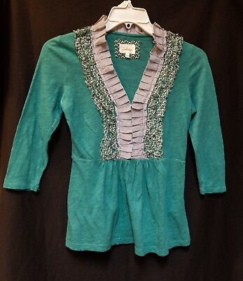 Anthropologie Deletta Green Ruffled Accent Top Blouse X-Small