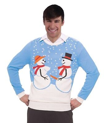 UGLY Christmas Holiday Sweater Funny Snowman Snow Couple Adult Costume M L XL