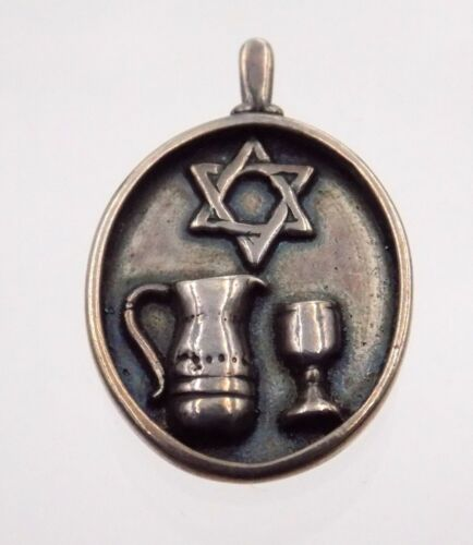Sterling Silver Jewish Star of David Kiddush Wine Pitcher and Cup Pendant Y 925