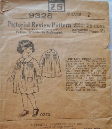 Antique Sewing Pattern Edwardian 1907 Girl Size 2 Smocked Shirred Dress complete