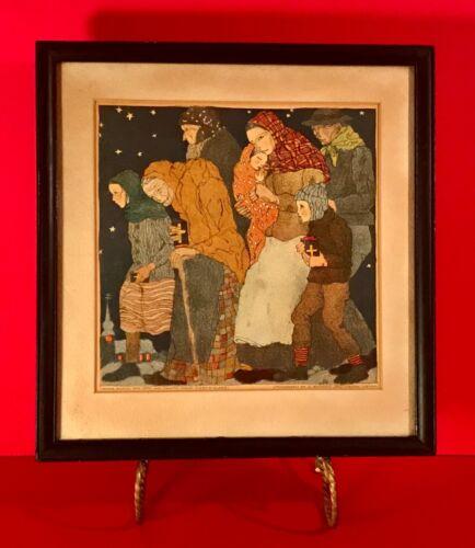 Original Framed Secessionist Lithograph Vienna School for Arts & Crafts ca 1919