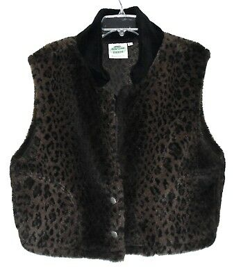 Palmer Lake Pine Cone Designs Brown & Black Leopard Print Faux Fur Vest Sz L USA