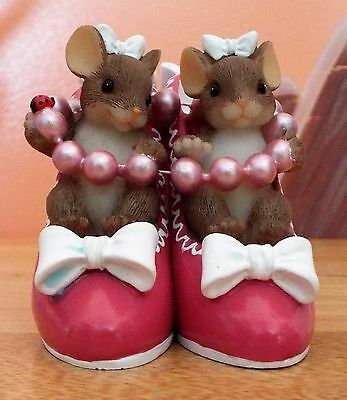 """Charming Tails """"Sole Sisters"""" Fitz & Floyd Mice Family 89/373 Figurine VGC"""