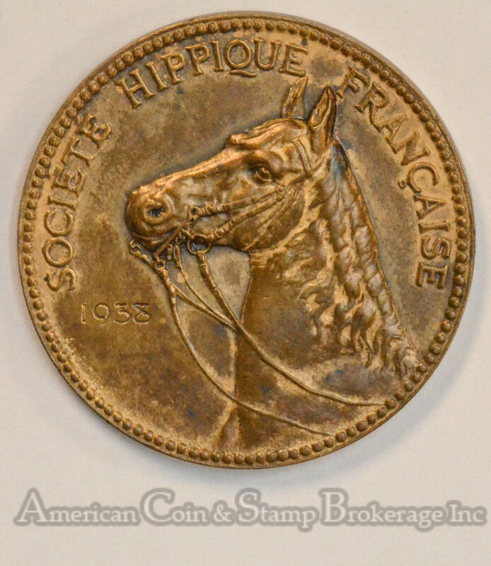 France 1938 41mm Bronze Horse Society Riding Exam Medal Scarce Equestrian