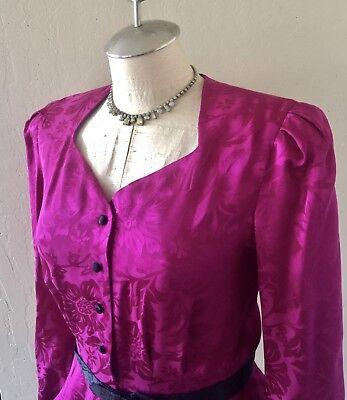 VTG 80's Does 40's Liz Claiborne Silk Fuchsia & Black 2 Pc Skirt Set Sz 8
