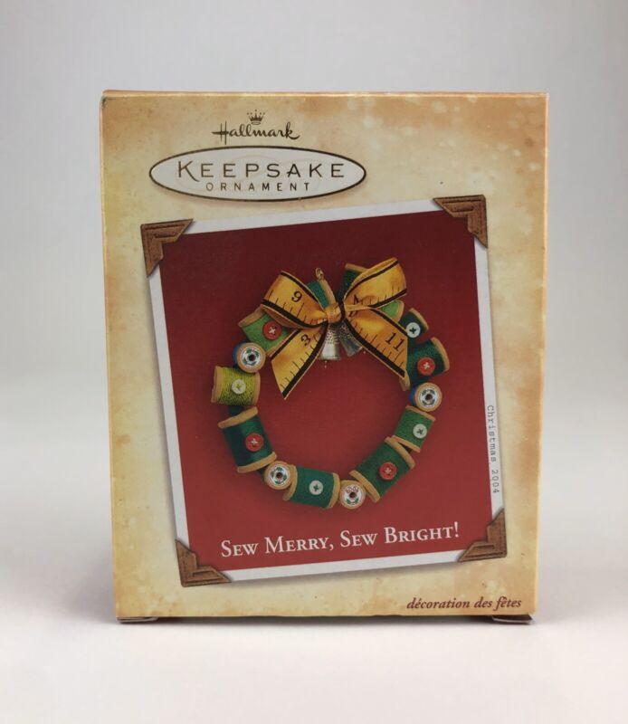 ~NIB~ 2004 Hallmark Keepsake Ornament 'Sew Merry Sew Bright' - Sewing Wreath