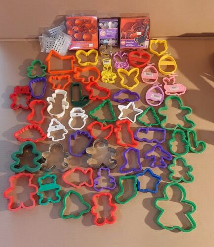 (72) Lot Tin & plastic misc Holiday themed Cookie Cutters  most NOS w/ stickers
