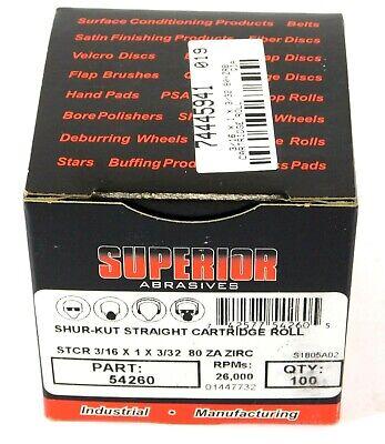 Superior Straight Cartridge Rolls 316 X 1 X 332 80 Grit Za 54260 100 Pcs