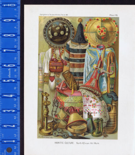 North African Hamitic Culture. Fabrics and Designs - 1893 Color Lithograph