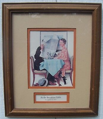 NORMAN ROCKWELL AT THE BREAKFAST TABLE Aug 23,1930 double matted glass art print