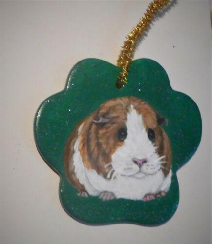 Guinea Pig Ceramic Christmas Ornament Custom Hand Painted