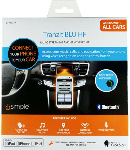 NEW iSimple TranzIt BLU HF Bluetooth HandsFree Kit transit music call iSFM2351