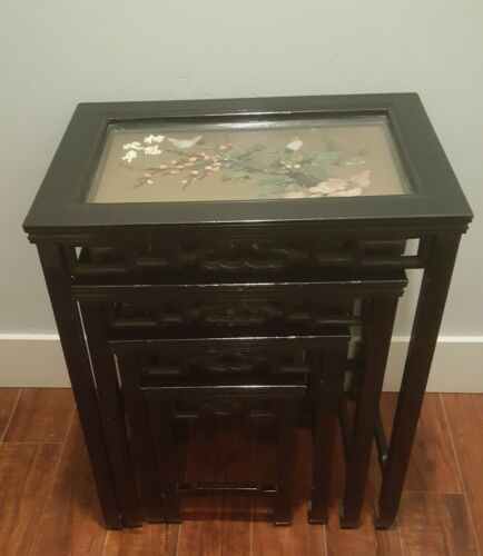 Vintage Oriental Themed Nesting Tables Set of 4 Jade pieces