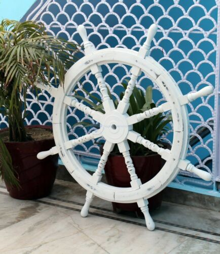 """Handcrafted 36"""" Antique White Home Wall Decor Large Nautical Wooden Ship Wheel"""