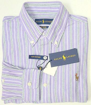NWT $98 Polo Ralph Lauren LS KNIT Mesh Oxford Style Shirt Mens Purple Large NEW Mesh-oxford