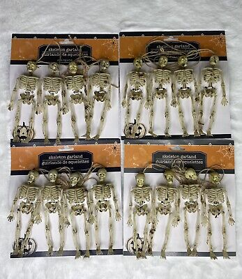 "Halloween Skeleton Garland 4 Pack 60"" Creepy Gothic Bones Decoration Bone New"