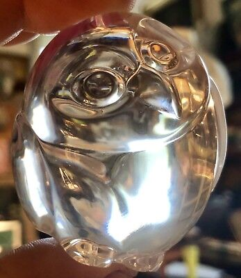 STEUBEN OWL Hand Cooler figurine~Fine Lead Crystal~Vintage signed +Steuben Box