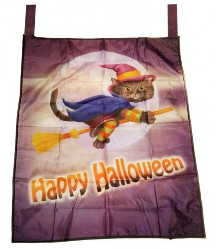 Happy Halloween Flag Black Cat in Witch Costume on Broomstick House Decor New