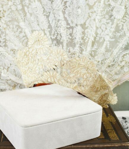 RARE COLLECTIBLE ANTIQUE VINTAGE FRENCH EMBROIDERED LACE BRIDAL TIARA