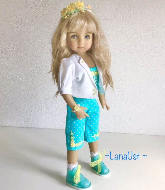 """Outfit for doll Little Darling Effner 13"""" Overalls, jacket ,beret and shoes"""