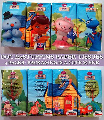 4 packs DOC McSTUFFINS 10 x POCKET TISSUES Disney Jr KIDS 20x20cm WHITE PAPER