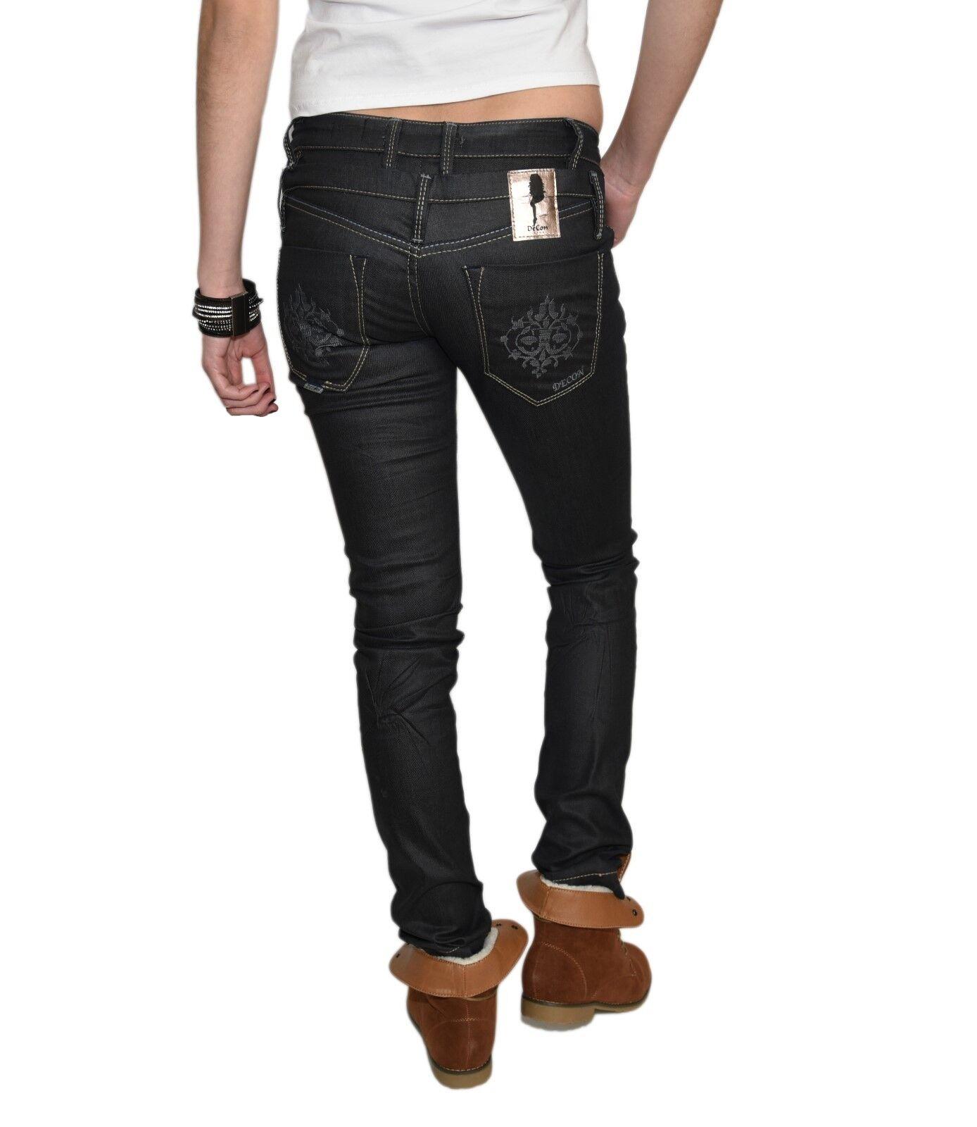 Damen Jeans Hüfthose Hose Slim Fit Skinny Stoff Röhre W24-W32 L32 L34 blau Decon