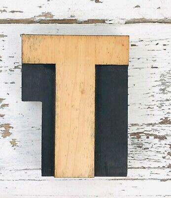 Vintage Wood Letterpress Print Type 5 Printers Block Cut Letter T
