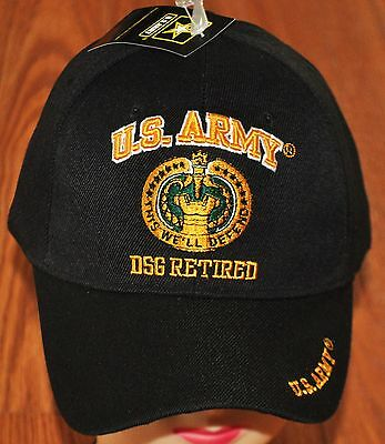 Black US Army DSG Drill Sergeant Retired Hat Ball Cap Veteran This We'll Defend