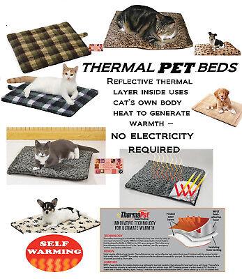 Pet CAT,Sm Dog Luxury THERMAL MAT BED PLAID-LEOPARD REVERSIBLE Fleece Crate WARM