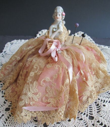 Vintage VICTORIAN PIN CUSHION Porcelain Half Doll MADE IN GERMANY