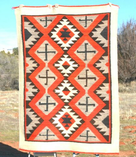Old Navajo Transitional Blanket Rug 1900 - 81 x 57 - Rolling Logs - Churro Wool