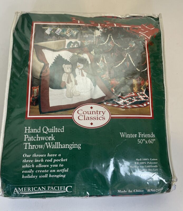 country classics winter friends Snowman hand quilted patchwork throw wallhanging
