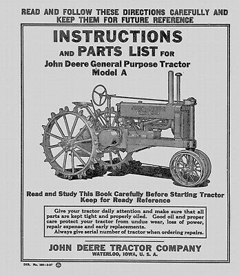 John Deere Model A Steel Wheel Tractor Manual