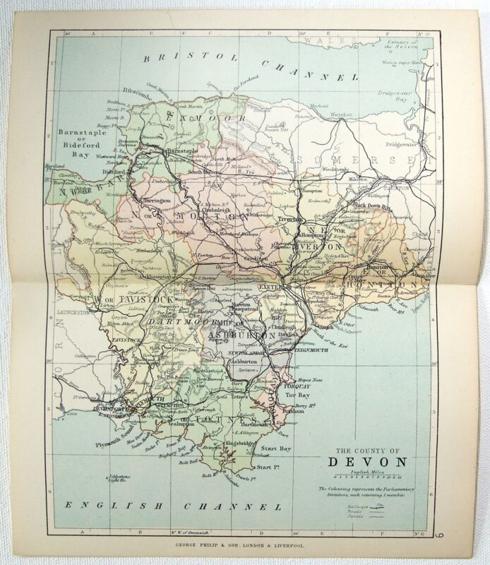 Original Philips 1891 Map of The County of Devon, England